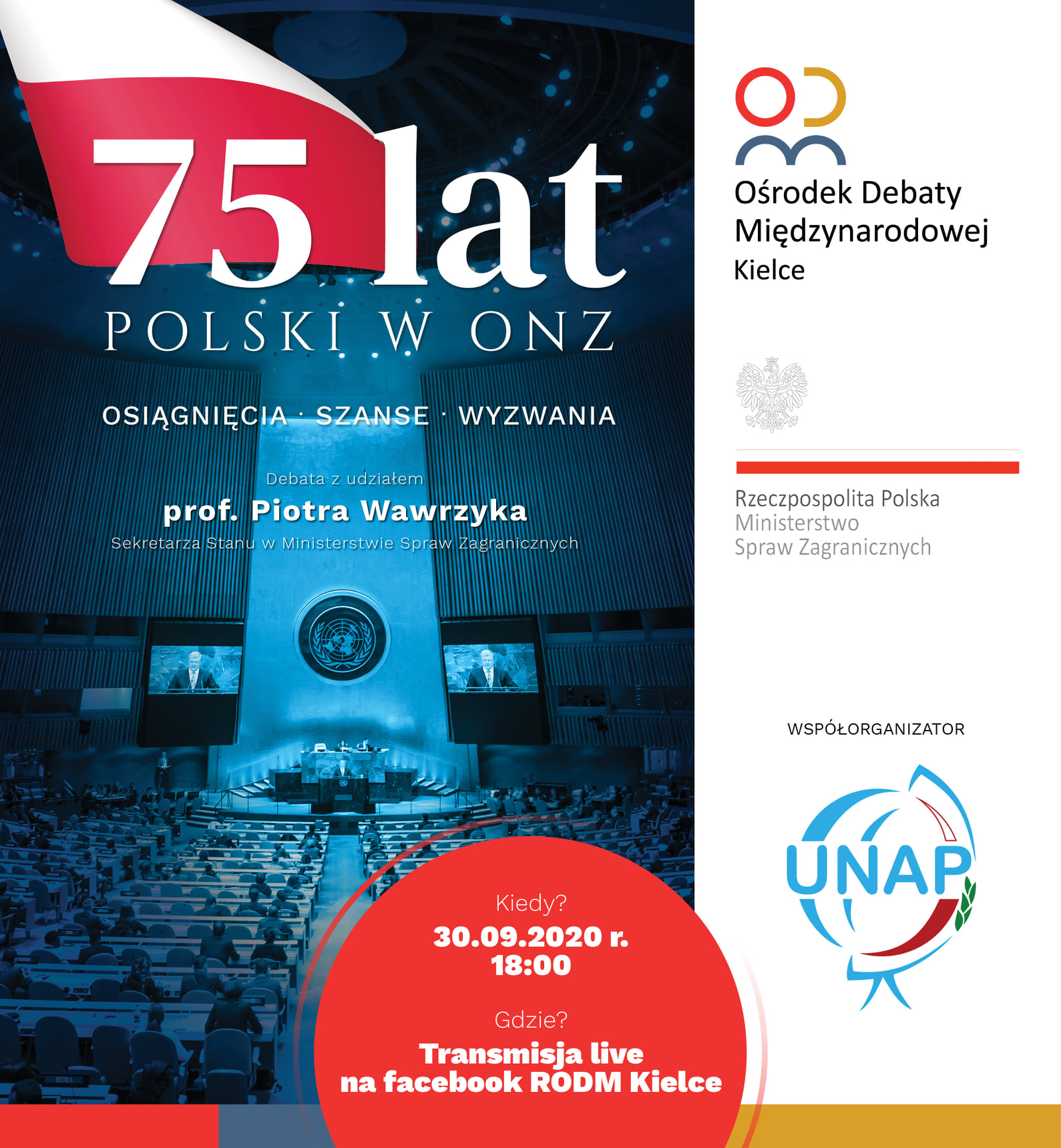 Kolejna debata-75 lat Polski w ONZ – osiągnięcia, szanse, wyzwania